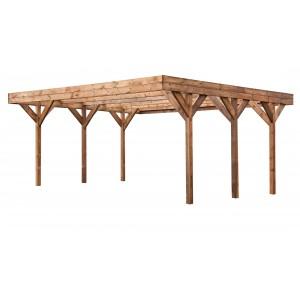 Carport en bois 6.00 x 5.10 m - couverture PVC verte