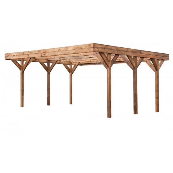 carport en bois x m couverture pvc verte votre abri de. Black Bedroom Furniture Sets. Home Design Ideas