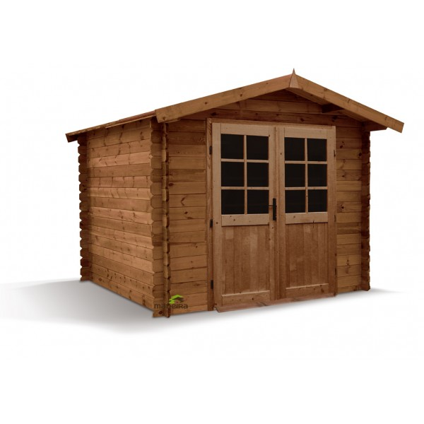 Abri de jardin en bois emboit loann 298x298 ep 28mm m2 for Abri jardin bois 28mm