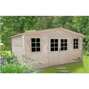 Abri de jardin LOUVIE bois emboité 4.95x3.98 17.62m² ep 28mm