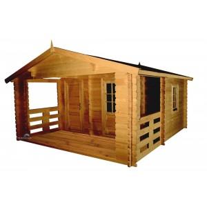Abri de jardin bois emboité 4.30 x 5.00 m + terrasse intégré - ep 43 mm - 21.5 m²