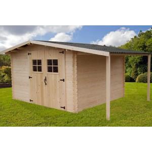 Abri de jardin bois 28mm 9.90m² + bûcher (Montage disponible)