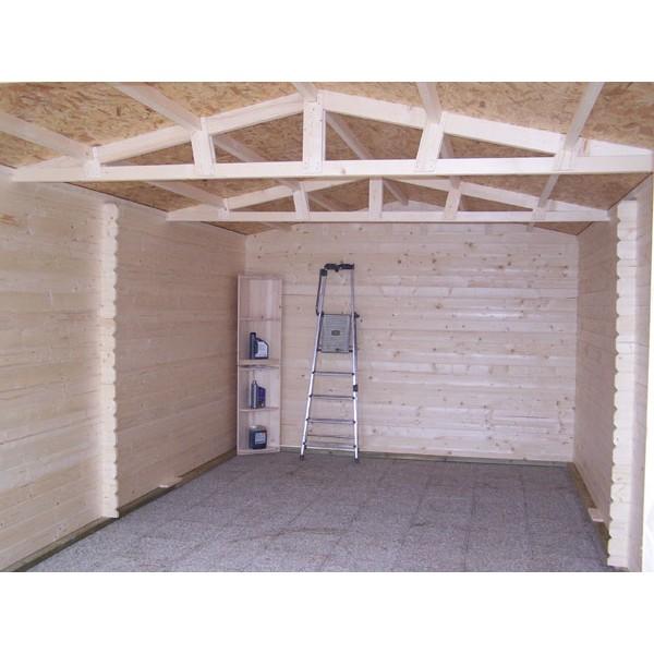 Garage en bois 28 mm 3 50 x 5 40 m (Livré et monté) # Garage De Jardin En Bois