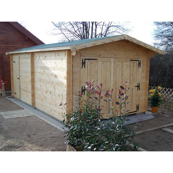 garage en bois 42 mm x m livr et mont. Black Bedroom Furniture Sets. Home Design Ideas