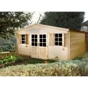 Abri de jardin en bois Orchidée 17.62 m² épaisseur 28 mm