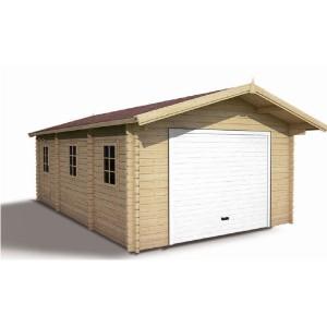 Garage en bois emboité brut 3,98 x 6,85 m + Avancée de 60 cm