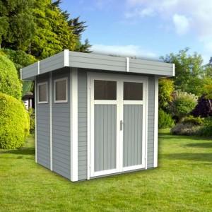abri de jardin nyborg 1 en bois nordique peint gris. Black Bedroom Furniture Sets. Home Design Ideas