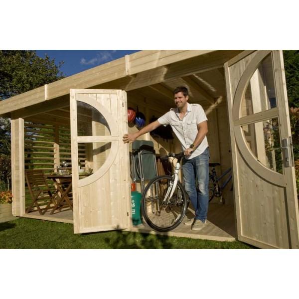 Abri de jardin relax summerhouse bois brut scandinave m2 for Abri de jardin 12 m2