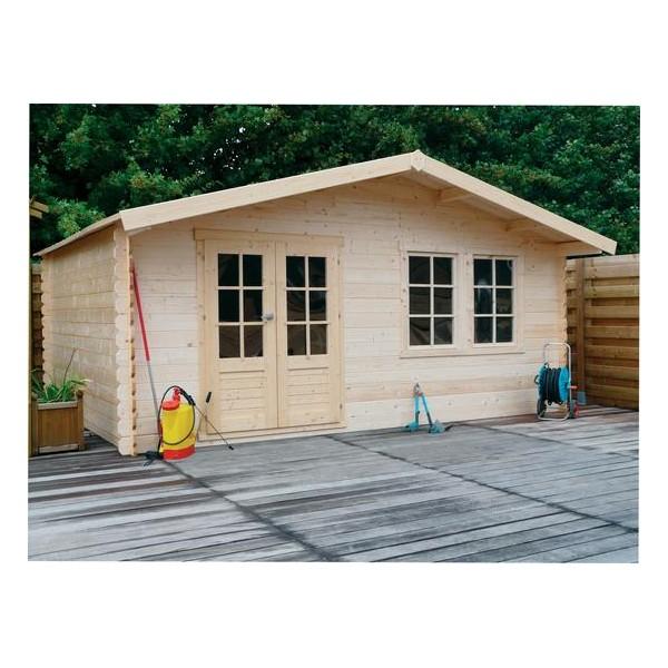 Imposant abri de jardin en bois non trait ch r 27 3 m2 for Abri jardin bois 20m2