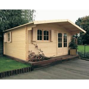 Grand abri de jardin en bois de 20 m2 40 mm d'épaisseur