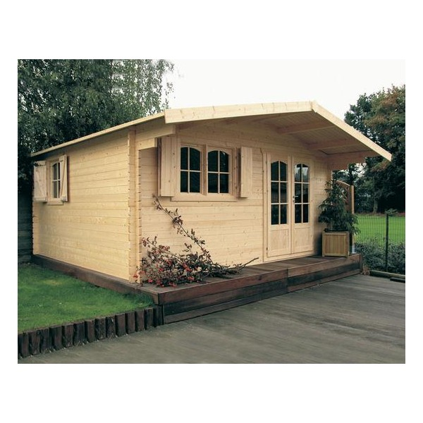pavillon jardin en bois de 20 m2 avec panneaux de 40 mm d. Black Bedroom Furniture Sets. Home Design Ideas