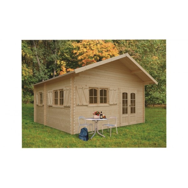Chalet de jardin en bois weekend 25 8 m2 paisseur de 40 mm for Grand abri jardin