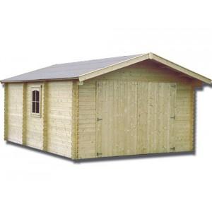 Garage en bois GAMAGRAN - 3.96 x 5.50 m - ep. 44mm - 18.90 m²