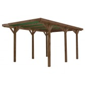 Carport en bois traité 3.00 x 5.10 m Couverture PVC Vert