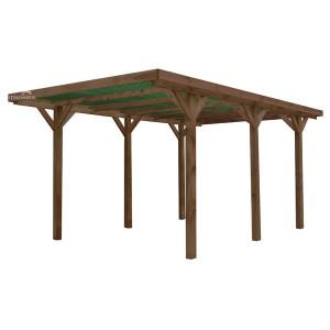 Carport en bois traité ENZO 304 x 512 cm Couverture PVC Vert