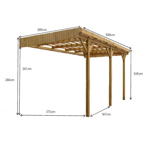 Carport en bois Mezzo 9 5 x 3 m votre abri de jardin com # Carport Bois En Kit